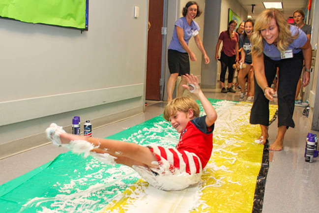Shaving cream slip-n-slide